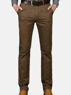 Mens Regular Fit Solid Color Business Trouser Brief Style Soft Cotton Cargo Pants