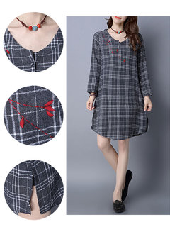 Casual Plaid Embroidery O-Neck Long Sleeve A-Line Dress For Women