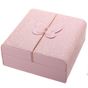 PU Leather Butterfly Double Open Door Jewelry Storage Box