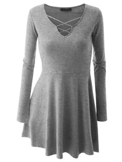 Casual Pure Color V-Neck Long Sleeve Mini Dress For Women