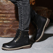Big Size Men Leather Buckle Cotton Warm High Top Lace Up Boots