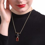 Balancing Style Vintage Alloy Rectangle Black Pearl Pendant Necklace