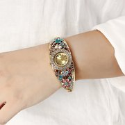 Cloisonne Retro Watch Vintage Alloy Flower Rhinestone Watch for Women Gift