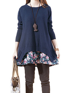Casual Women Floral Patchwork Long Sleeve Two Piece Knit Mini Dress