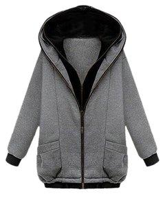 Casual Pocket Double Solid Drawstring Zipper Warm Hood Coat