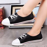 Color Match Lace Up Flat Casual Preppy Style Leather Shoes
