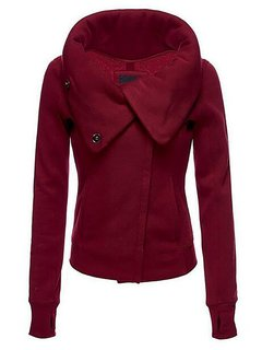 Women Casual Pure Color Turn Down Collar Jacket
