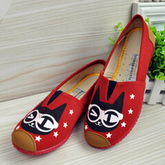 Cute Cat Face Star Canvas Color Match Slip On Flat Loafers