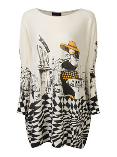 Casual Loose Pullover Character Print Long Sleeve Knit Women Sweater