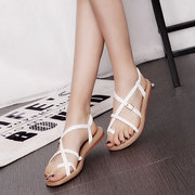 Pu Pure Color Bandage Strappy Buckle Clip Toe Flat Beach Sandals