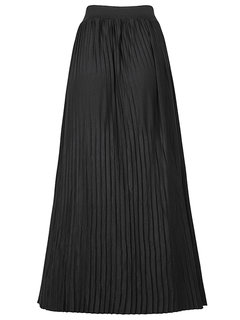 Elegant Pure Color Elastic Waist Pleated Maxi Skirt For Women