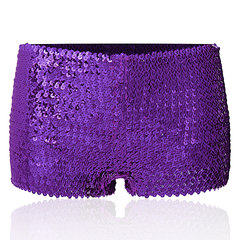 Sexy Elastic Bright Sequins Performance Boyshorts Mid Waist Underwear For Women