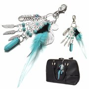 Bohemian Turquoise Tassel Feathers Gossip Palm Keychain