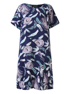 Casual Women Feather Printed Cotton Linen Dress