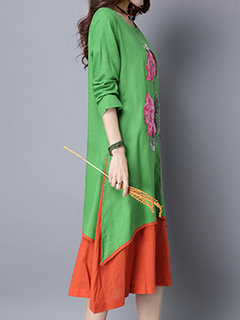 Vintage Embroidery Long Sleeve Patchwork Fake-Two Piece Dress For Women
