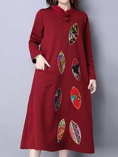 Printed Women Loose Embroidered Stand Collar Long Sleeve Dress