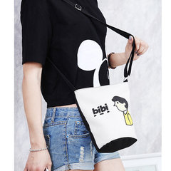 Girls Canvas Cute Bag Letter Character Crossbody Bag Cartoon Bag