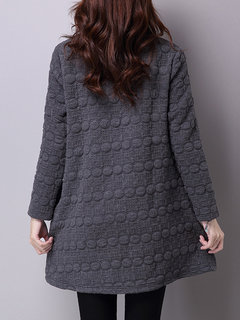 Casual Patchwork Turtleneck Long Sleeve Cotton Mini Dress For Women