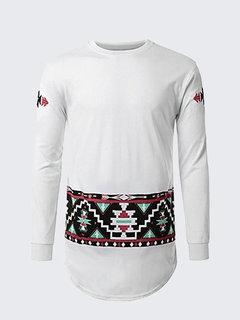 Мужская мода Enthic шаблон печати O-образным вырезом с длинными рукавами случайные хлопка футболки