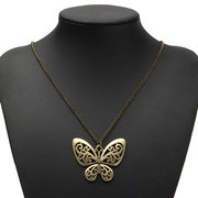 Retro Bronze Carved Butterfly Necklace