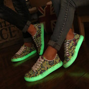 Pattern Canton Cute Fluorescence Lace Up Light Up Sport Shoes