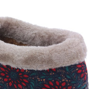 Red Flower Warm Faux Fur Lining Slip On Casual Snow Ankle Boots