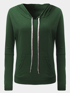 Casual Pure Color Long Sleeve Pocket Hooded Pullover Thin Tops For Women
