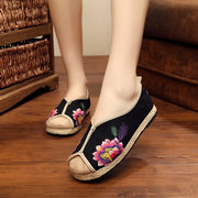 Embroidery National Wind Floral Print Flat Stitching Casual Loafers