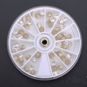 60Pcs 3D White Pointed Bottom Crystal Nail Art Decoration Round Wheel