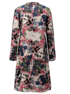 Chinese Style Ink Printed Plate Button Long Sleeve Dress For Women