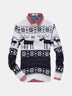 Men's Christmas Rein Deer Sweater Round Collar Pullover Casual Knitwear