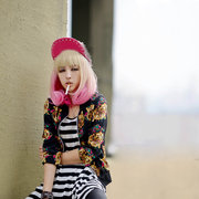 Fashion Cool Girl Yellow Gradient Pink Pear Wig