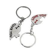 I Love You Kiss Couple Heart Keychain