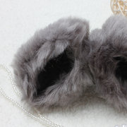 Ladies Rabbit Fur Winter Warmer Knitted Fingerless Gloves