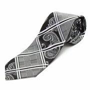Men Classic Geometric Black White Woven Silk Tie Wedding Party Business Necktie