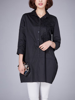 Casual Solid Embroidery Bead Patchwork Lapel Shirt Dress For Women
