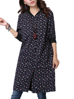 Vintage Women Stand Collar Long Sleeve Floral Printed Dress