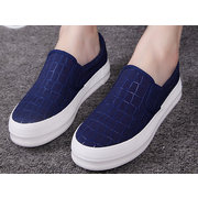 Plaid Checks Canvas Pure Color Casual Slip On Flat Loafers