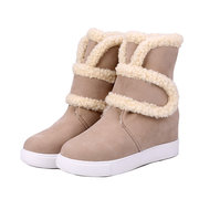Hook Loop Furry Ankle Pure Color Warm Fur Lining Boots