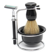 4 In 1 Safety Two-sided Razor Bristle Brush Black Bowl Stainless Steel Shave Stand Travel Set