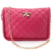 Women PU Leather Quilted Crossbody Bags Vintage Bowknot Shoulder Bags