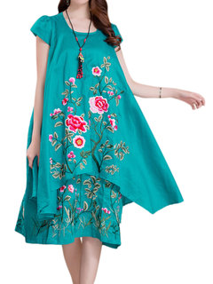 Vintage Women Short Sleeve Floral Embroidery Ethnic Dress