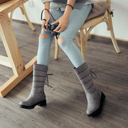 Big Size Warm Lace Mid Calf Square Heel Snow Boots For Women
