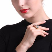 Balancing Style Vintage Ring Sector Rhinestone Pearl Square Ring