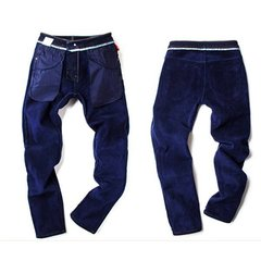 Men's Winter Fashion Thickened Add Wool Warm Jeans Slim Fit Casual Pants