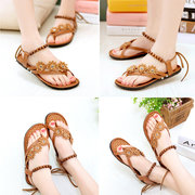 Bohemia Bead Flower Strappy Casual Clip Toe Lace Up Flat Sandals