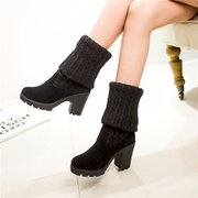 Wool Folded Knitting Slip On Chunky Heel Elastic Over The Kness Boots