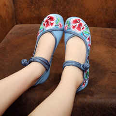 Floral Embroidery National Wind Chinese Knot Lace Up Flat Shoes