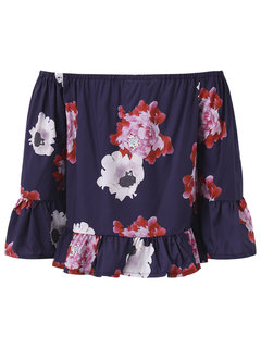 Women Sexy Floral Print Off-shoulder Horn Sleeve Tops