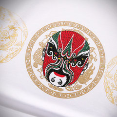 Mens Summer T-shirts Unique Peking Opera Printing Short sleeve Cotton Top Tees